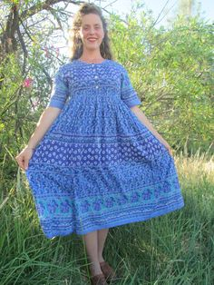 Vintage Indian Cotton Diamond Day Persian Floral Baby Doll Summer Dress, So Soft!!