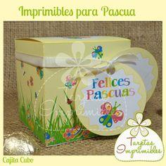 Cajita cubo para imprimir, ideal para llenar de huevitos de Pascua pequeños o golosinas.