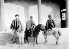 Italian mounted infantry in Tientsin, China during the Boxer Rebellion in 1900.
