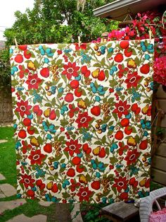 red and turquoise - cushion fabric