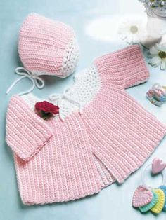 Free Crochet Baby Sacque and Cap Pattern.