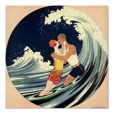 Love in the Surf; Romantic Kiss by Beach beaches, a kiss, beach waves, poster, romant kiss, art deco, vintage art, print, kisses