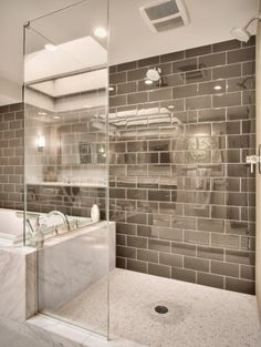 The grey subway tiles in this bathroom look so modern and fresh. Visit Central and check out our great selection of tiles, in every style to suit any budget! We also have Smart Tiles, a great alternative to traditional tiles (they're oh-so-easy to install and much more cost-effective! And no setting time or anything!)! #bathroom #tiles #grey