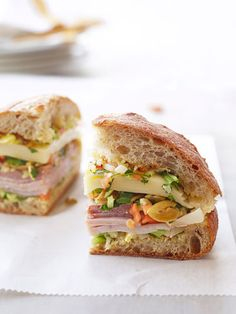 Giardiniera — an Italian ready-made mix of pickled veggies — adds tons of flavor to this Muffuletta Sandwich.
