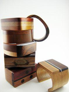 Modern Wood Bracelet Wrist Cuff with Snakewood by RamshackleStudio