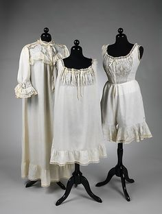 Lingerie Set: Nightgown, Slip, Corset Cover & Drawers 1895, American, Made of linen and silk