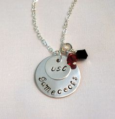 USC Gamecocks Hand Stamped Charm Necklace