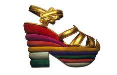 salvatore ferragamo, fashion, ferragamo shoe, rainbows, judy garland, salvator ferragamo, platform shoes, judi garland, design