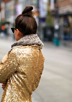 Sequined jacket, Gold