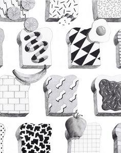 clays, graphic, cookbook illustr, pattern, illustrations, art, cookbooks, toast, clay hickson