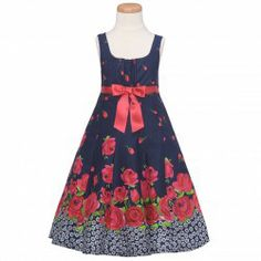 A navy and red floral print fabric summer dress by Bonnie Jean will compliment your sweet girl perfectly.  Hidden zip closure at the center ...