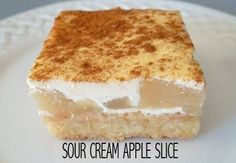 Perfect for afternoon tea -Sour Cream Apple Slice #recipe