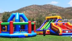 Inflatable slides, Demolition Ball Game, and Jacob's Ladder -- a great addition to a school carnival