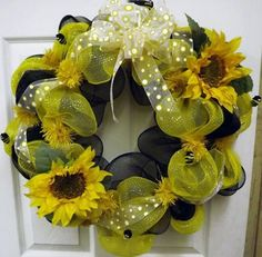Bumblebee Deco Mesh Wreath  Geo Mesh Wreath  by giftbasketsupplies, $45.99