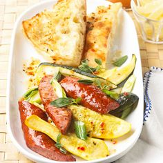 Ideal for a light supper, this easy sausage and summer squash main dish recipe can be prepared in less than 30 minutes.