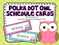 Owl schedule cards$