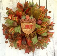 Cute...Fall Mesh Welcome Wreath by aDOORableDecoWreaths on Etsy,