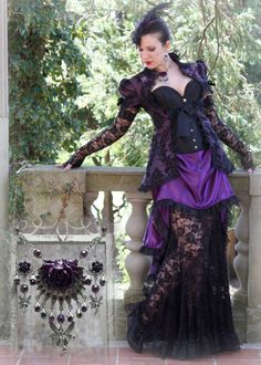 """Oh, you guys have to see this corseted wonder from Vixen's Delight. It's called """"Gothic Temptation"""" -- talk about unleashing your inner vixen! So much yummy lace. Burlesque, goth, and corset lovers of all types can head over to http://auralynne.etsy.com for more gowns and http://vixensdelight.etsy.com for matching jewelry and hairsticks!"""