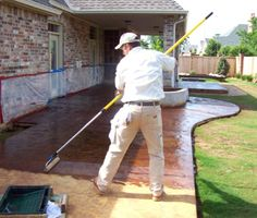 Applying Concrete Sealer and Acid Stain