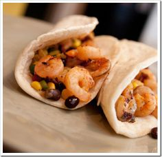 chipotle lime soft tacos these are grilled shrimp with a black bean ...