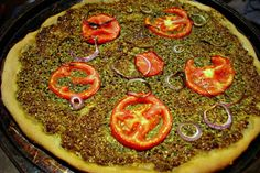 Vegan Pesto Pizza with Fresh Tomatoes and Red Onions