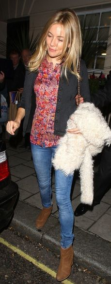 Who made Sienna Miller's pink floral top that she wore in London?