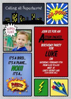 Boy's superhero birthday invitation by LittleLivy on Etsy, $10.00