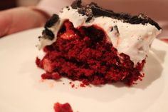 "Red Velvet ""Better than Sex Cake"" made with Diet Coke, Light Cool Whip, etc."