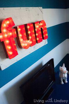 game rooms, carniv sign, painted signs, vintage signs, metal signs, vintage metal, diy light, vintage carnival, vintage inspired