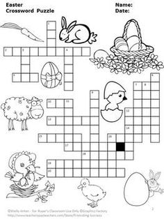 Easter: Easter vocabulary will be a breeze with the fun crossword puzzle. The clues are on a separate page along with an optional word bank for easy differentiation. An answer key is provided for your convenience.  The secular vocabulary words include:  chocolate bonnet cottontail parade jelly beans carrot basket lily nest candy Easter lamb decorate dye bouquet hop hunt tulips duckling April