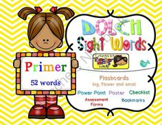 Dolch Sight Words PRIMER [Bookmarks, Flashcards, Powerpoint and more] from Teacher Mommy on TeachersNotebook.com -  (152 pages)  - Complete 52 PRIMER Dolch Sight Words or high frequency words. Activities, Printables and Powerpoint Presentation's Slideshow for Teachers and Students.
