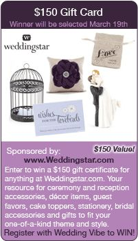 Wedding Sweepstakes - Win a $150 gift card to Weddingstar.com in this giveaway for your wedding!