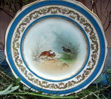 Antique Plate Of Theodore Haviland Limoges Game Birds    This Haviland Limoges Plate Has A Center Design Featuring Game Birds Along With A Wide Border Alternating Gold And Teal Blue    On A Gently Scalloped Blank    ABSOLUTELY BEAUTIFUL!!!   $85.00