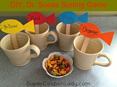 DIY Dr. Suess One Fish, Two Fish, Red Fish, Blue Fish Sorting Game! My lil guy loved this!! So FUN & EASY! http://www.supercouponlady.com/2013/03/diy-dr-seuss.html/