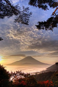 Glorious View of Sunrise on Mount Fuji Japan