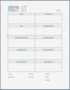 Grocery Shopping Template #FreePrintable for a weekly grocery list.