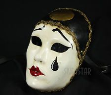 Genuine Venetian Mask Made in Italy Pierrot Mime Masquerade Costume Wall Decor