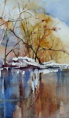 artist unknown, watercolor, landscap, autumn tree, jokes