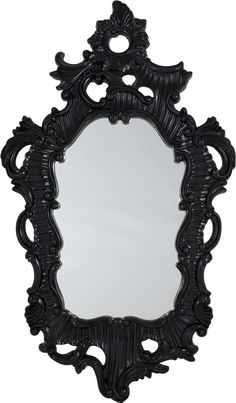 Black Lacquer Baroque Mirror