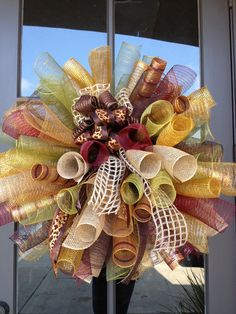 fall spiral poly mesh wreath with burlap & leopard  bow