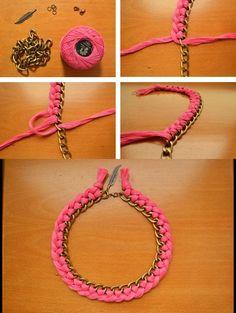 Collar DIY TUTORIAL http://adiktivas.es/2012/10/diy-collar-de-hilo-trenzado-y-cadena-de-eslabones/