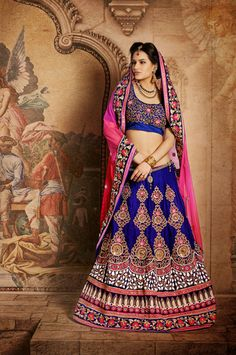 USD 221.18 Blue Butta Work Net Wedding Lehenga Saree  34086