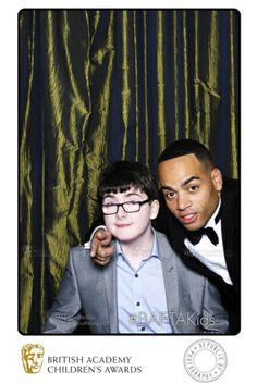 Comedians Doc Brown and Jack Carroll in the BAFTA TwitterBox after presenting awards at the British Academy Children's Awards