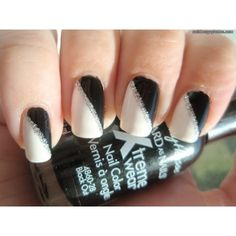 black and white nail designs for short nails ❤ liked on Polyvore squar, black and white nail design, nail designs, silver, black nails, black white, stripes, glitter, nail art