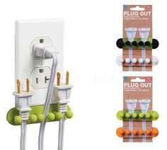 Plug Out Plug Organizers - keep plugs near the outlet for convenience, while eliminating the wasted electricity (vampire draw) or the need for a power strip. It you're not using it... unplug it, save energy and be kind to our planet!
