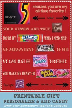 Valentine...Just add candy and personalize  Candy Poster for your sweetheart. Homemade Gift Idea that is easy to personalize, print and add candy! Instant Download with Personalization Area - for a name and initials such as M&D. Great Valentine Card or Anniversary card for your husband or boyfriend!