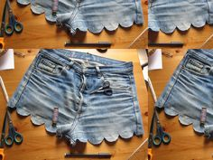 a pair and a spare . diy fashion: DIY SCALLOPED DENIM SHORTS