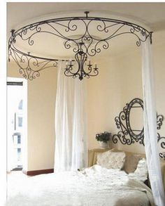 $37 Wrought iron beds the mantle shelf wrought iron bed mantle Cornices IKEA Imperial Palace the curtain rack Princess Bed mantle shelf-ZZKKO Decor, Curtains, Princess Beds, Canopies Beds, Wrought Iron Beds, House, Bedrooms, Iron Canopies, Girls Rooms