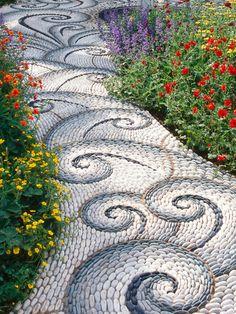 river rocks, pathway, swirl, garden paths, garden walkways, garden idea, spiral, mosaic, stone path