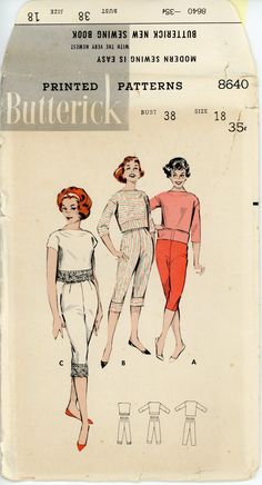 1950s Lingerie Pattern Butterick 8640